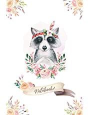 Notebook: Cute Raccoon Floral Wreath - Lined Notebook Journal - 6 x 9 Inches - 110 Pages