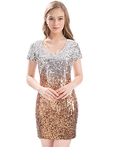 MANER Women's Sequin Glitter Short Sleeve Dress Sexy V Neck Mini Party Club Bodycon Gowns(XL, Silver/Rose Gold/Brown)