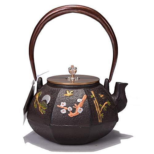 (Teapot Cast Iron Teapot, Japanese Style Tetsubin Tea Kettle 1.2L   Cast Iron Tea Kettle to Keep Tea Warm   Painted eight scenes pattern Iron kettle)