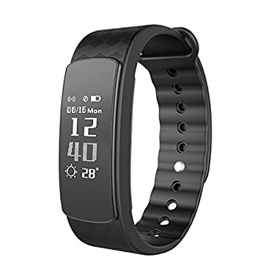 Heart Rate Monitor Bracelet, LUCOG USB Charging Fitness Tracker Watch IP76 Waterproof Smart Band Wristband with Sleep Monitoring Tracking Remote Camera Touch Screen for IOS Android Phones (I3 blue)