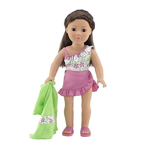 - Emily Rose 18 Inch Doll Clothes | 4-Piece Floral Print One Piece Swimsuit Set, Includes Matching Towel, Ruffled Skirt, and Fun Beach Sandals| Fits American Girl Dolls | Gift Boxed!
