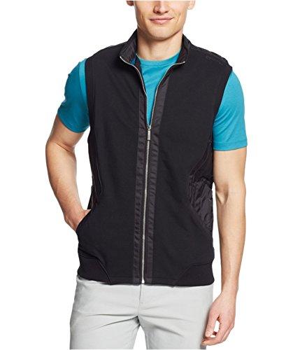 Calvin Klein Men's Mix Media Pique Fleece Sweatshirt, Black, Large by Calvin Klein