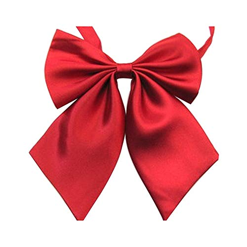 Women's Solid Color Bow Tie School Student Sailor Suit Bowknot Adjustable Ribbon (red) (Red Japanese School Uniform)
