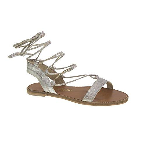 Chinese Laundry Kristin Cavallari Women's Belle Tumbled Lea Gladiator Sandal, Silver, 7.5 M US (Silver Sandals Chinese Laundry)