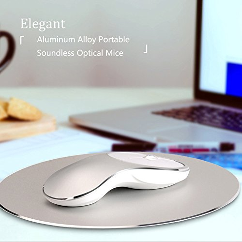 HaloVa Wireless Mouse, Aluminum Alloy Portable Soundless Optical Mice with 2.4G USB Receiver for Mac, Laptop, Tablet, Macbook, Notebook, PC, Rose Gold