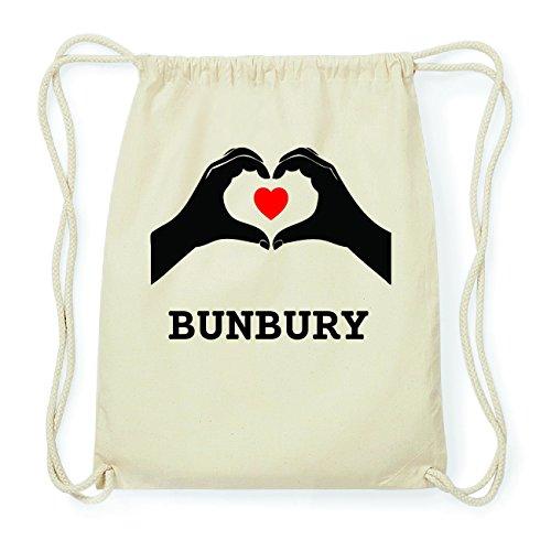 JOllify BUNBURY Hipster Turnbeutel Tasche Rucksack aus Baumwolle - Farbe: natur Design: Hände Herz