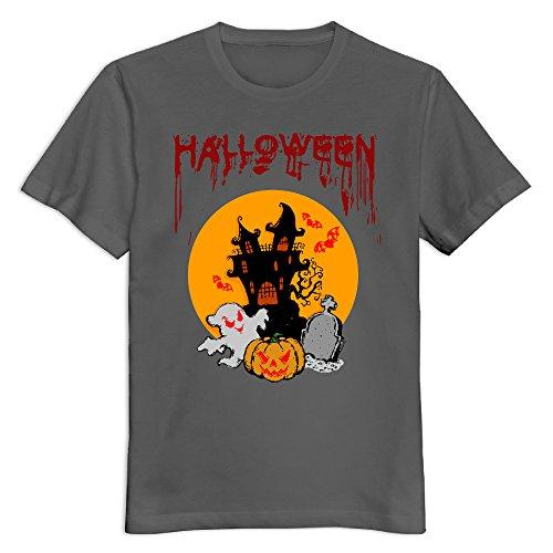 Men's Halloween Day 100% Cotton Round Neck T Shirt T-Shirt DeepHeather US Size -