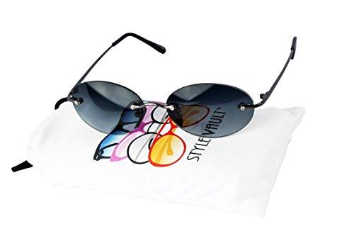 WM3101-vp Oval Round Shield metal Retro Classic small lens Sunglasses (C023 Gunmetal-bluish smoked, - Sunglasses Small Rimless