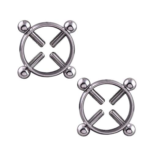 Nipple Clamps - IrBingNii Nipplerings Piercing Women Nippleshields Screw Body Piercing Jewelry Adjustable Circle Nipple Rings for Women None Piercing