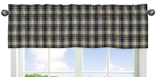 Sweet Jojo Designs Blue and Tan Woodland Plaid Flannel Window Treatment Valance for Rustic Patch Collection