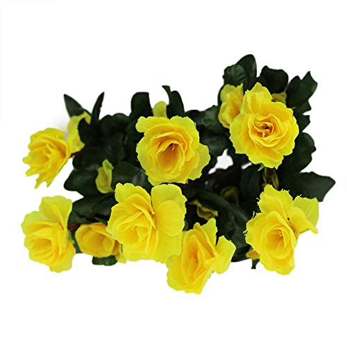 Mikilon Artificial Flowers, Fake Flowers Silk Artificial Rhododendron 21 Heads Wedding Bouquet for Home Garden Party Wedding Decoration (Vase not Included) (Yellow)