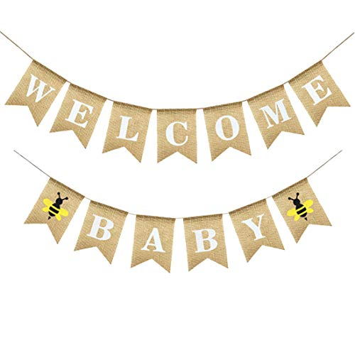 Uniwish Welcome Baby Banner Bee Theme Baby Shower Decorations Rustic Burlap Bunting Boy Girl Gender Reveal Party Supplies