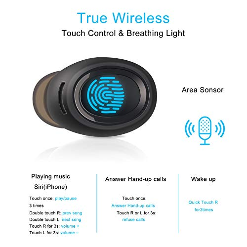 True Wireless Bluetooth Earbuds, Headphones for Sport Mini TWS Earphones Bluetooth 5.0, Auto Pairing, Touch Control, Dual Built-in Mic, Noise Cancelling with Metallic Charging Case Black
