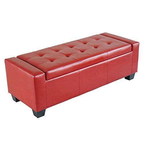 HOMCOM Faux Leather Storage Ottoman/Shoe Bench - Red