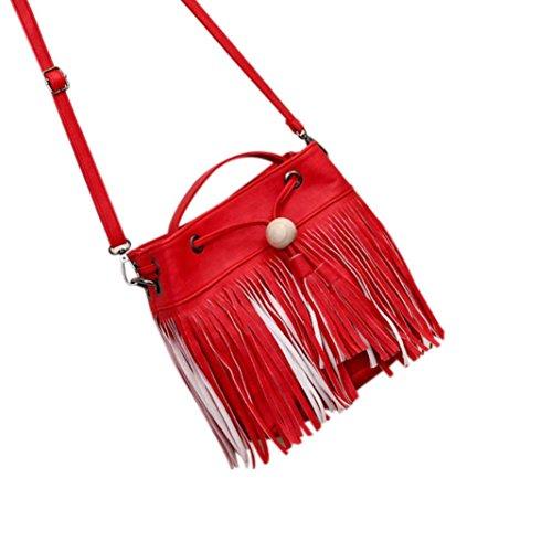 Women Messenger Bag Vintage Bag Tote Shell Bolsas Lady Pouch(red) - 1