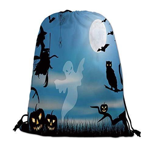Halloween Lightweight Drawstring Bag,Ghost Witch Owl Spider Web Bats Trees Fantastic Grange Forest at Night Decorative for Travel Shopping,One_Size -