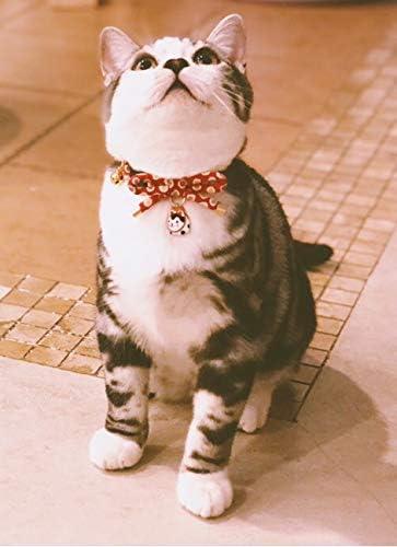 Collar de gato con campana, diseño de lazo con bonito abalorio de gato 7