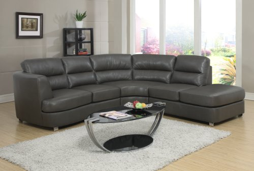 Monarch Bonded Leather/Match Sectional Sofa, Dark Grey
