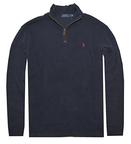 Polo Ralph Lauren Men Half Zip French Rib Cotton Sweater (L, Cruise - Polo Ralph Lauren Navy