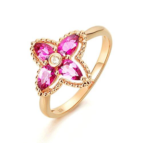 ANAZOZ 18K Gold(Au750) Pear Cut Tourmaline Gemstone Engagement Ring Bands for Women