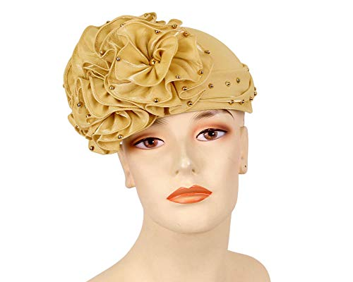 Women's Satin Church Derby Hat by Ms Divine #H210(Gold)
