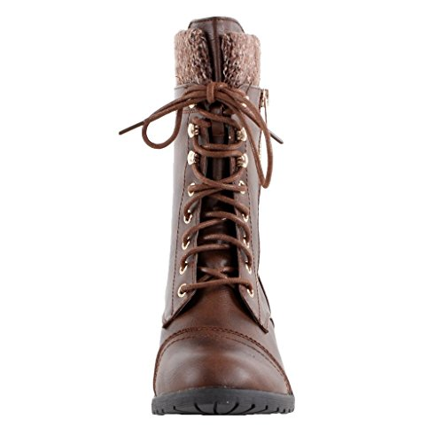 Forever Link Womens Mango-31 Runde Zehe Military Lace Up Knit Knöchel Manschette Low Heel Combat Boots Braun 15