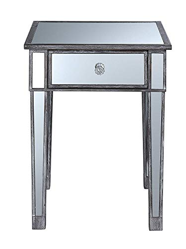 Convenience Concepts 413345WGY Gold Coast Mirrored End Table with Drawer, Weathered Gray