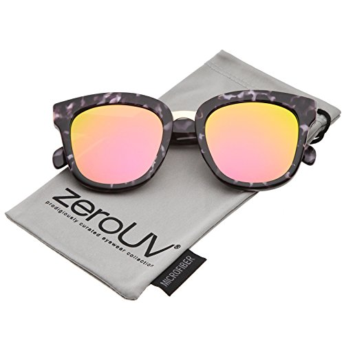 zeroUV - Marble Printed Metal Nose Bridge Trim Wide Temples Mirrored Flat Lens Horn Rimmed Sunglasses 50mm - Wide Bridge Sunglasses