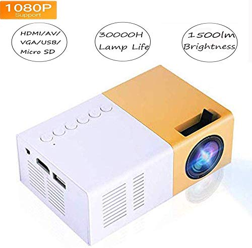 Mini HD Video Projector, Portable 16:9 1080P 1500LM 60″ Display Full HD LED Home Theater 4K TV/Movie/Video Game Handheld HDMI VGA Multimedia Pocket Handheld Player,for Entertainment/Learn,30000H Life