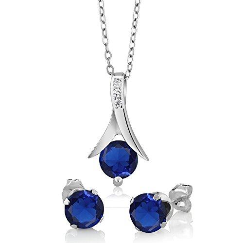 Round Blue Sapphire Pendant - 9