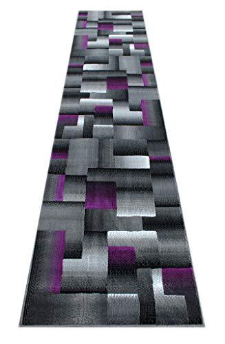 Masada Rugs, Modern Contemporary Runner Area Rug, Purple Grey Black (2 Feet 4 Inch X 10 Feet 11 Inch) Runner (Grey Runners Carpet And Black)