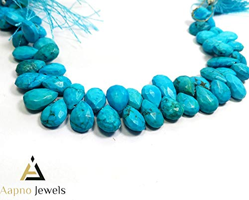 1 Strand Natural Turquoise Loose Beads Strand, 8x15-8x10mm 8 Inch Faceted Pear Drops Turquoise Beads, Turquoise Beads Necklace, Jewelry Making Turquoise Beads, Knotted Turquoise Necklace