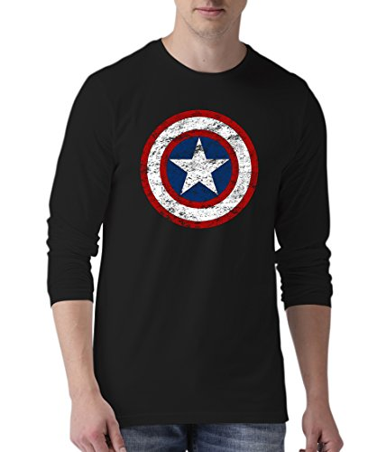 Black Mens Infinity Shield Captain America T Shirt | LGS Light DistCapt S