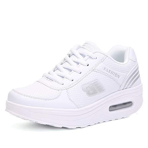 Hasag Zapatos nuevos de Plataforma Blanca de Mujer Zapatos de Mujer de Estudiante de Moda Sneakers,