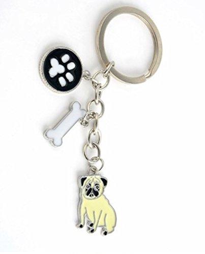 1 Pc Mini Pocket Pet Dog Keychain Keyring Keyfob Pomeranian Pendant Key Chain Ring Fob Tag Holder Finder Necklace Primo Popular Cute Wristlet Utility Keychains Tool Teen Women Girls Gift, - Pearl Figural