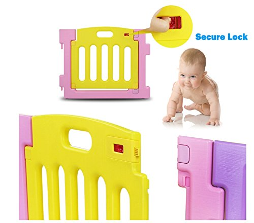 barrera protectora con compuerta color rosa Mcc/® Corralito de pl/ástico para infantil para ni/ños con 8 paneles