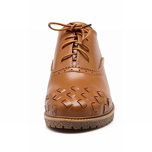 Show Shine Moda Mujer Low Chunky Heel Lace Up Oxfords Zapatos Light Yellow