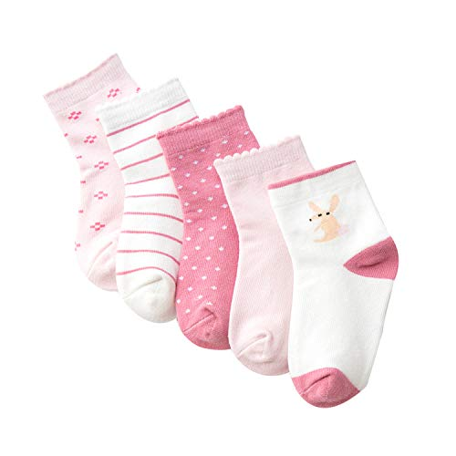 Toddler Kids Girls Ankle Socks 5 Pack Winter Thick Cotton Flower Stripes Size 9-12 Years ()