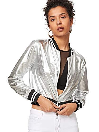 Metallic Bomber - SweatyRocks Women's Shiny Metallic Striped Lightweight Zip-up Bomber Jacket Silver XL
