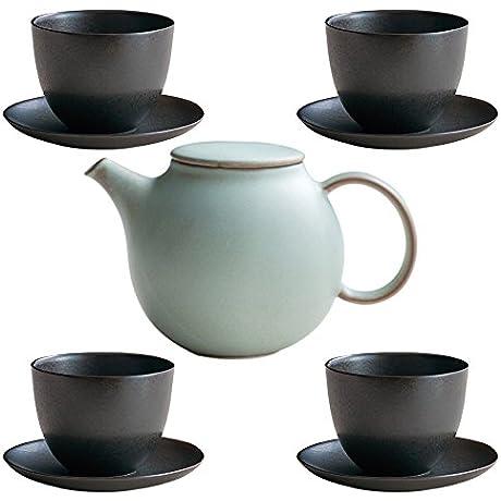 KINTO Pebble Moss Green Porcelain Teapot And Four Black Cup Saucer Set Of 5