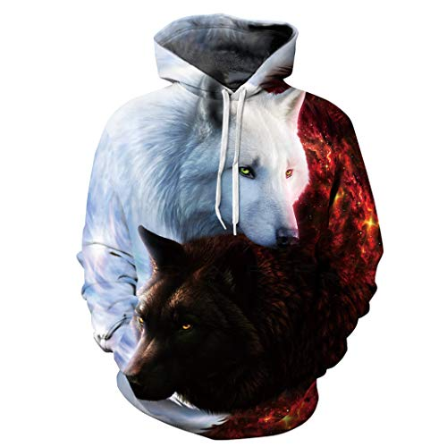 NEWCOSPLAY Unisex Harajuku Realistic 3D Digital Print Pullover Hoodie Hooded Sweatshirt Sweaters (XXL, White Brown Wolf) ()