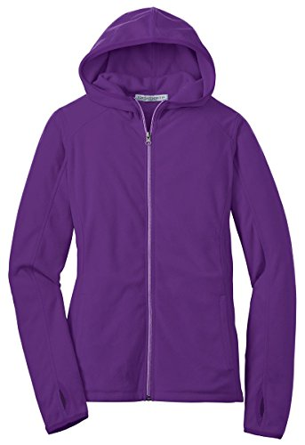 Ladies Full Zip Microfleece Jacket (Port Authority Women's Microfleece Full Zip Hoodie - Amethyst Purple L225 S)