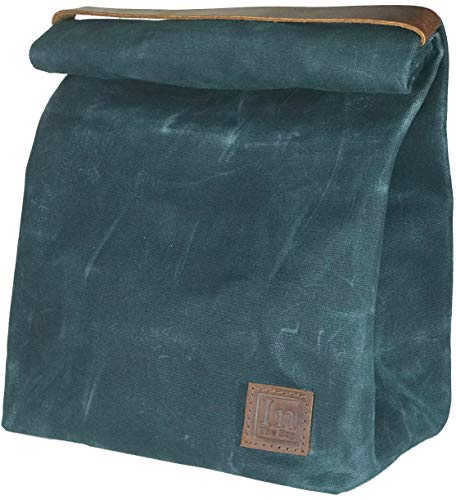 - Lunch Bag (Lunch Box) Large Lined Waxed Canvas Roll Top Tote Bag with Leather Strap Carrying Handle and Brass Snap Closure - Forest Green - by In The Bag