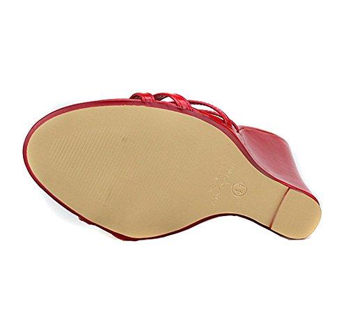 Cunei Del Festa Su eur42 Sandalo Estate Donna Piede Pantofole Scivolare Nero Tacchi Scarpe Rosso 40 46 Taglia red Dito uk10 Vestito Sbirciare Sandali 5wOaAp