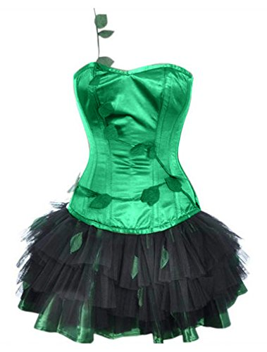 Charmian Women's Burlesque Poison Ivy Costume Halloween Costume Corset with Skirt Green XX-Large ()