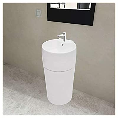 Bathroom Sink, Stand Bathroom Basin with Overflow & Faucet Hole Ceramic White