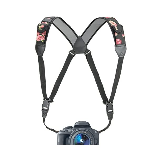 41uDUVIq7tL. SS600  - USA GEAR DSLR Camera Strap Chest Harness with Quick Release Buckles, Floral Neoprene Pattern and Accessory Pockets…