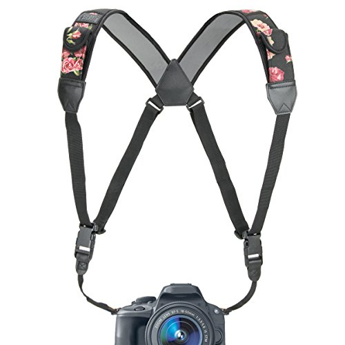USA Gear DSLR Camera Strap Chest Harness with Floral Neoprene Pattern and Accessory Pockets - Compatible with Canon, Nikon, Fujifilm, Sony More Point and Shoot, Mirrorless Cameras
