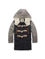 Pretty Tiger Little Boy's Winter Long Parka Hooded Warm Fleece Trench Coat Outerwear