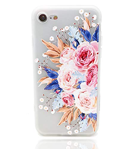 (HUIYCUU Case Compatible with iPhone 6 Plus for iPhone 6S Plus Case,Pink Flower Design Floral Matte Shockproof TPU Soft Case for Girls Women Rose Pattern Clear Bumper Back Cover,Blossoms)